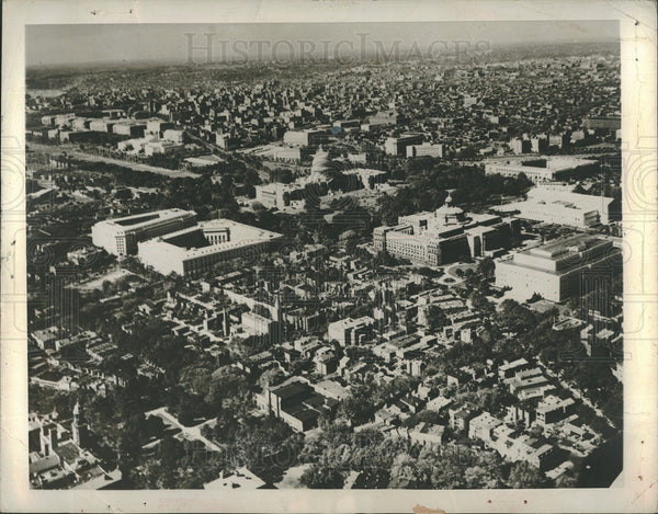 1963 Press Photo Aerial View Of Washington D.C. Buildings And Roads - Historic Images