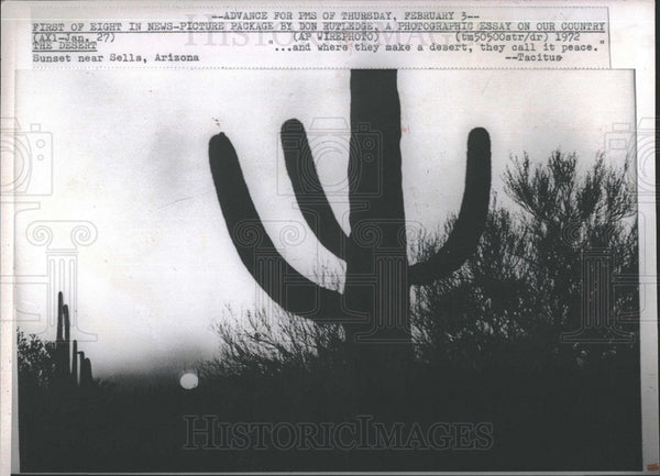 1972 Press Photo Sunset in Desert Near Sells Arizona - Historic Images