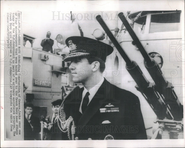 1965 Press Photo Grecian King Contantine Views Minesweeper Gift From U.S. - Historic Images
