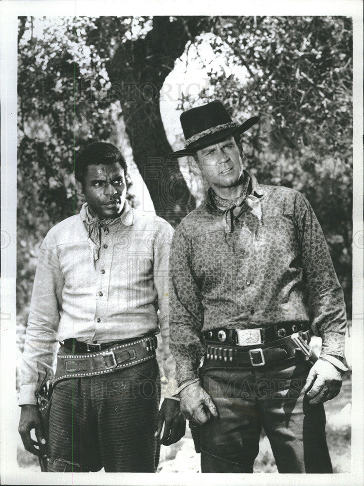 "1968 Press Photo Actors Otis Young (L) & Don Murray in ABC-TV""s ""The Outcasts"" - Historic Images"