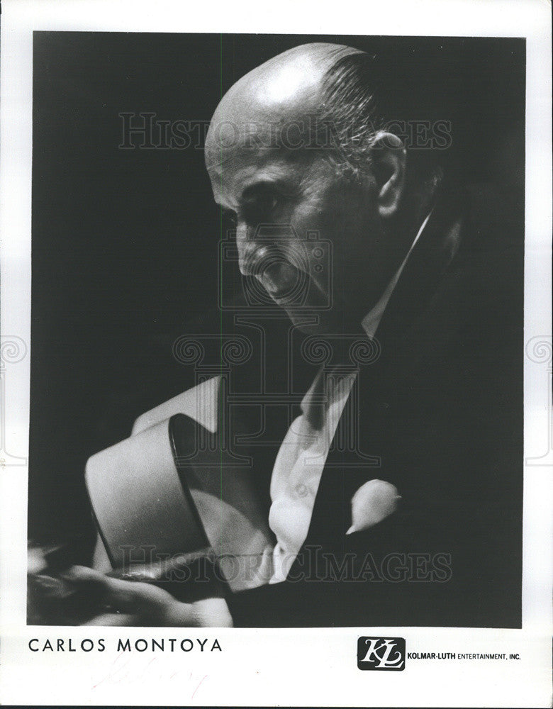 1977 Press Photo Carlos Montoya Flamenco Guitarist Managed By Kolmar Luth Inc. - Historic Images
