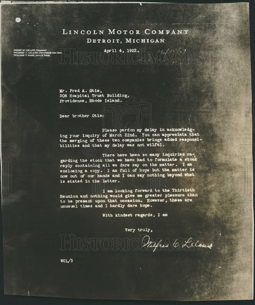 1922 Press Photo Letter from Wilfred Leland of Lincoln Motor Co. about Ford merg - Historic Images