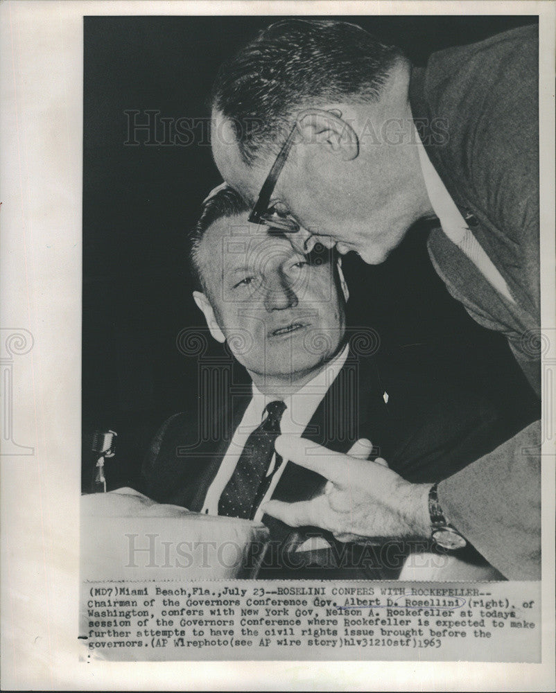 1963 Press Photo Governors Albert Rosellini Nelson Rockefeller Conference - Historic Images