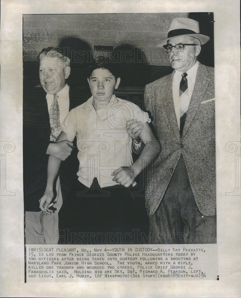 1956 Press Photo Billy Ray Prevatte Taken Into Custody After Shooting At School - Historic Images