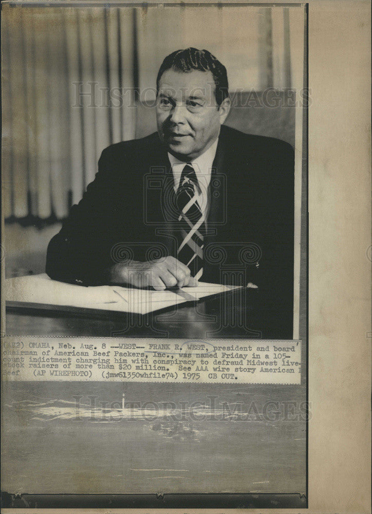 1975 Press Photo Frank R. West named in 105-count indictment. - Historic Images