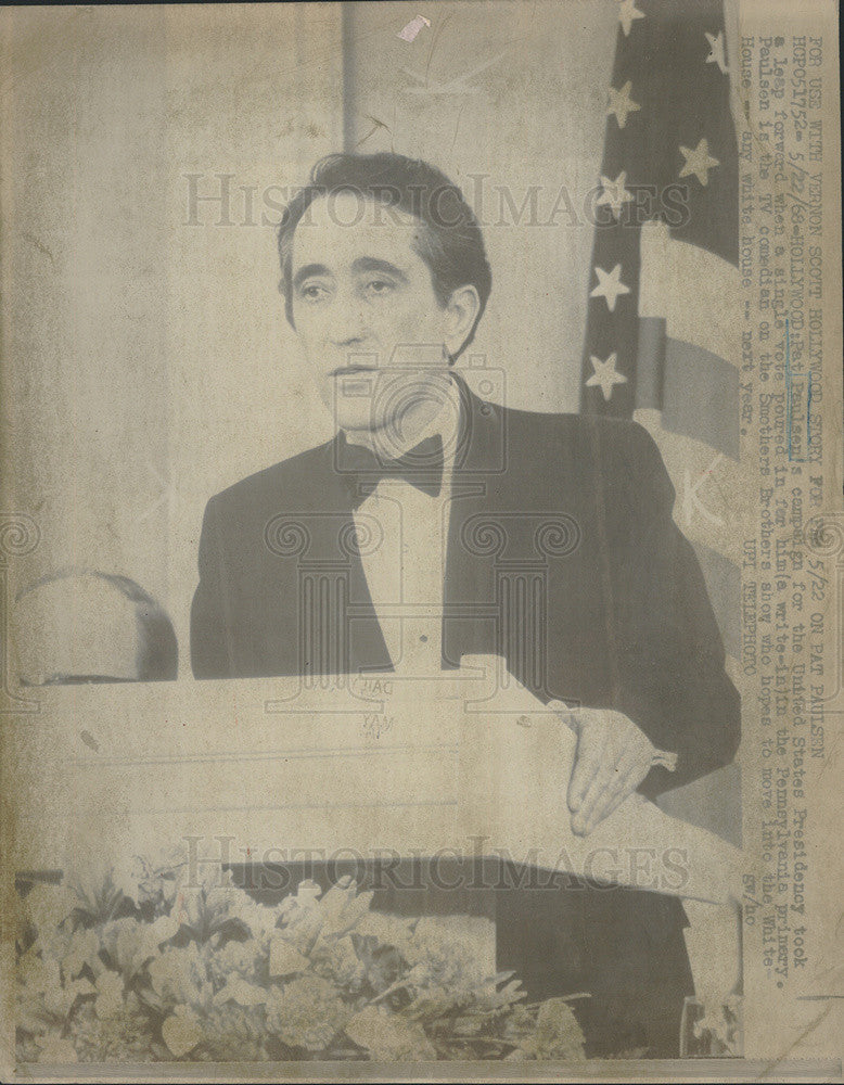 1968 Press Photo Pat Paulsen campaign Presidency comedian - Historic Images