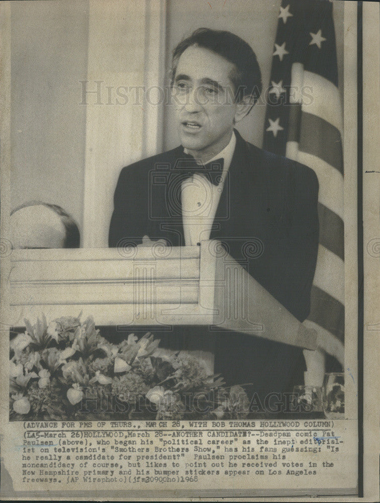 1968 Press Photo Comic Pat Paulsen  Speaking Possible Presidential Candidate - Historic Images
