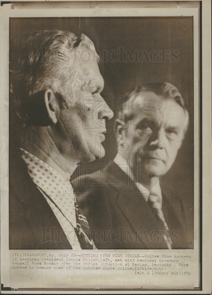 1974 Press Photo United Mine Workers President Arnold Miller - Historic Images