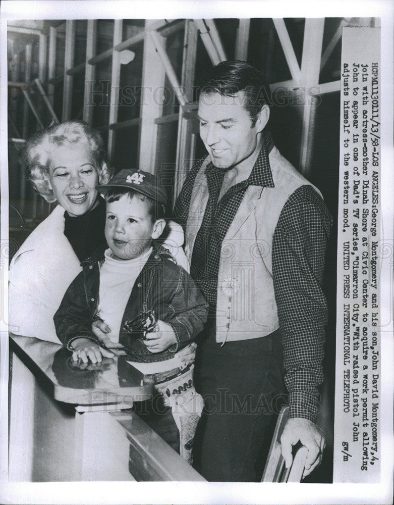 1958 Press Photo George Montgomery And Son With Mother Dinah Shore At Civic - Historic Images