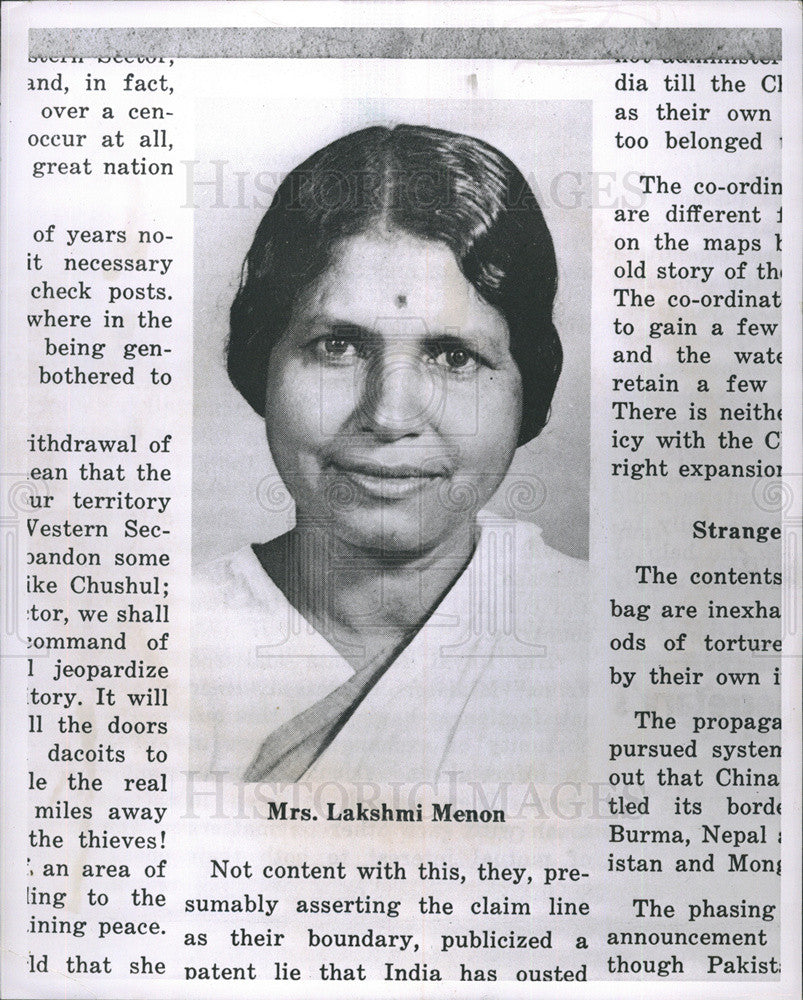 Press Photo Mrs Lakshmi Menon Minister of State for External Affairs India - Historic Images
