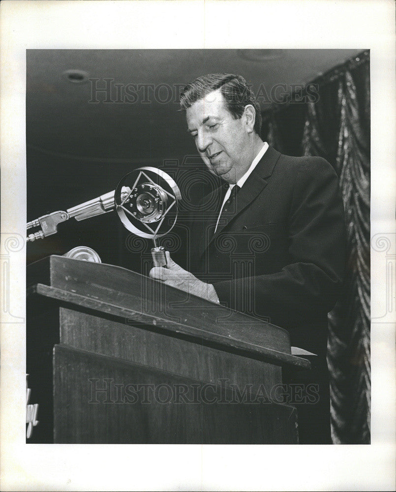 1968 Press Photo Radio Personality Don McNeill Accepts Replica Radio Microphone - Historic Images