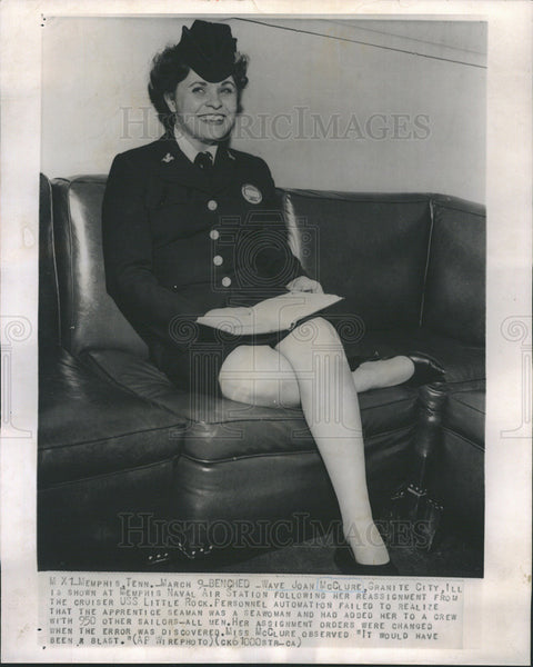 1962 Press Photo Joan McClure,navy reassigned her because she was a woman. - Historic Images