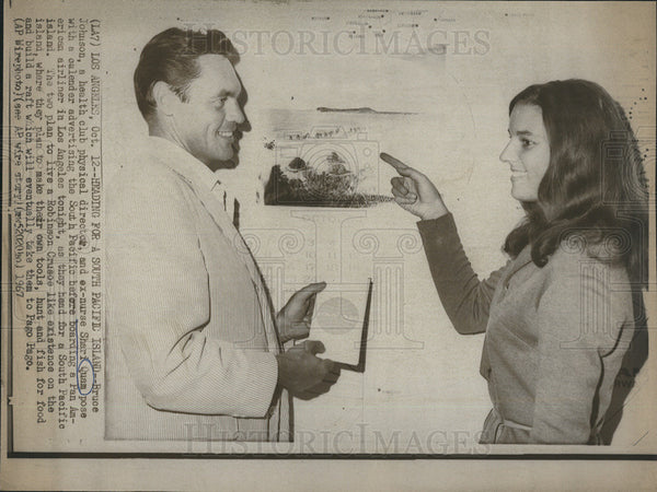 1967 Press Photo Bruce Johnson and Shari Quam pose before starting adventure. - Historic Images