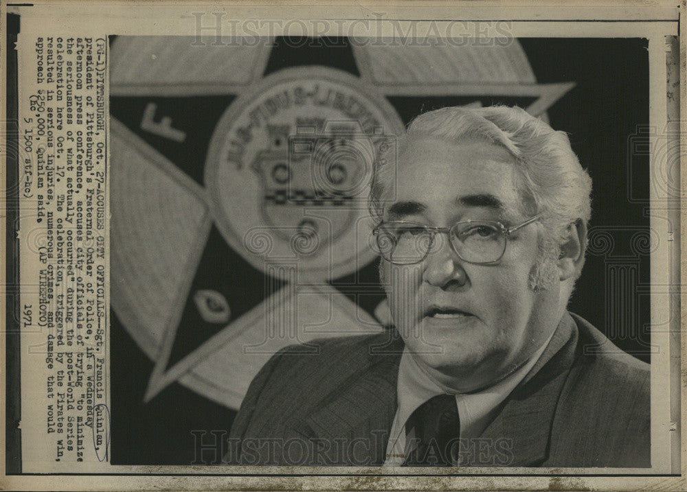 1971 Press Photo Pres of Pittsburgh's Fraternal Order of Police Sgt Quinlan - Historic Images