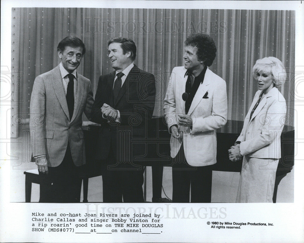 1980 Press Photo Mike Co-host Joan Rivers - Historic Images