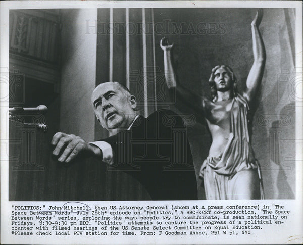 1972 Press Photo Former Attorney General John Mitchell Shown On Show Politics - Historic Images