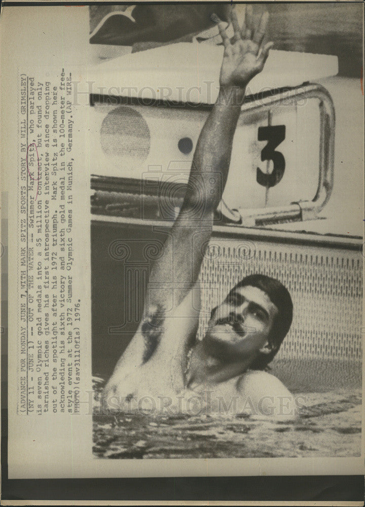 1976 Press Photo  Mark Spitz of California Olympic Gold Medal Swimmer - Historic Images