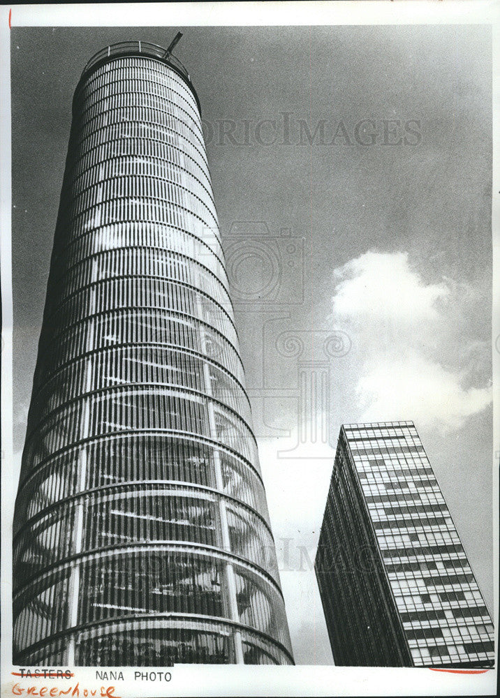 1965 Press Photo Greenhouse Towers 70 feet high in Leverkusen, Germany - Historic Images
