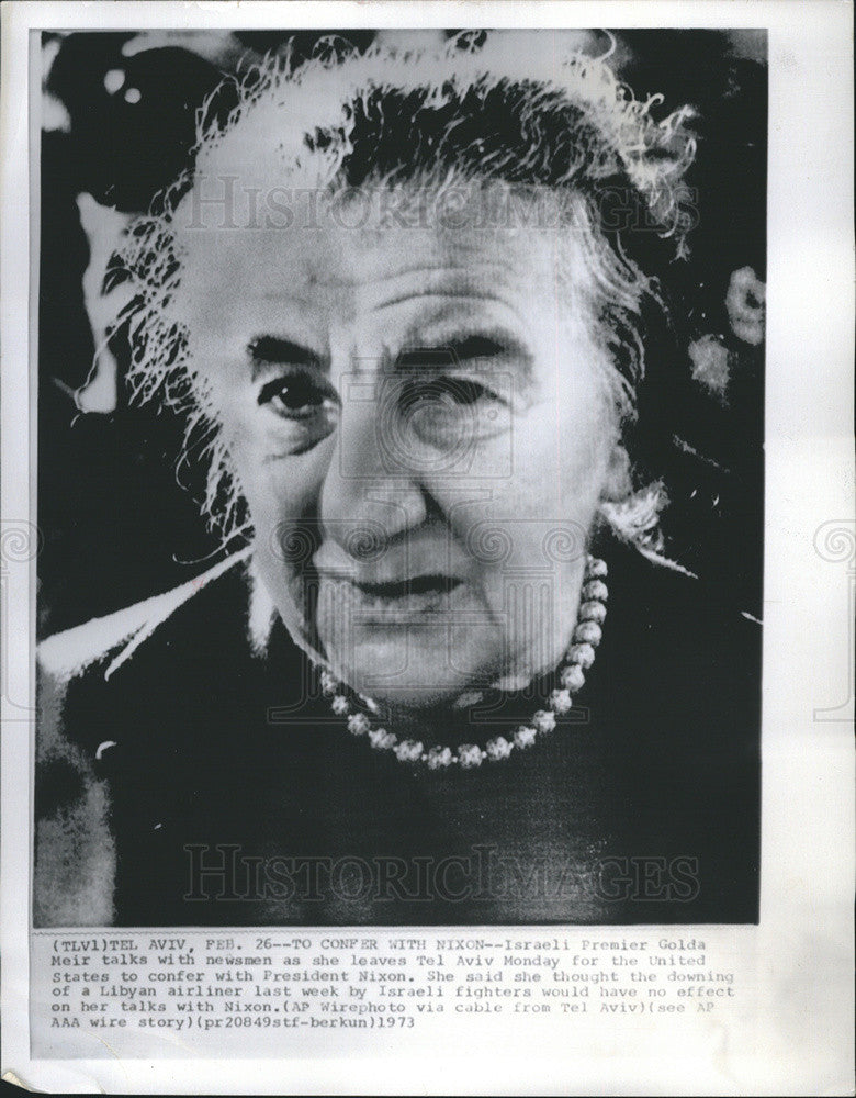 1973 Press Photo Israeli's Golda Meir Confers With President Nixon - Historic Images