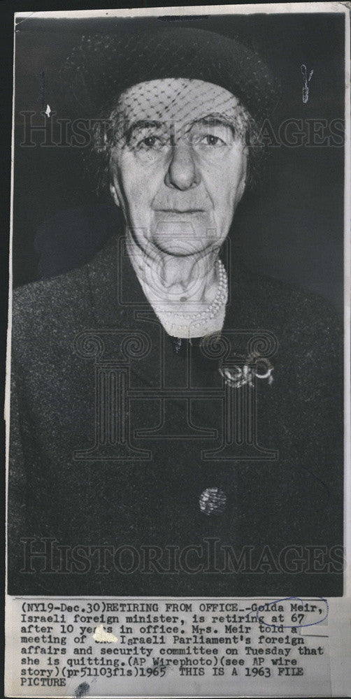 1969 Press Photo Israeli Prime Minister Golda Meir Retiring from Office - Historic Images