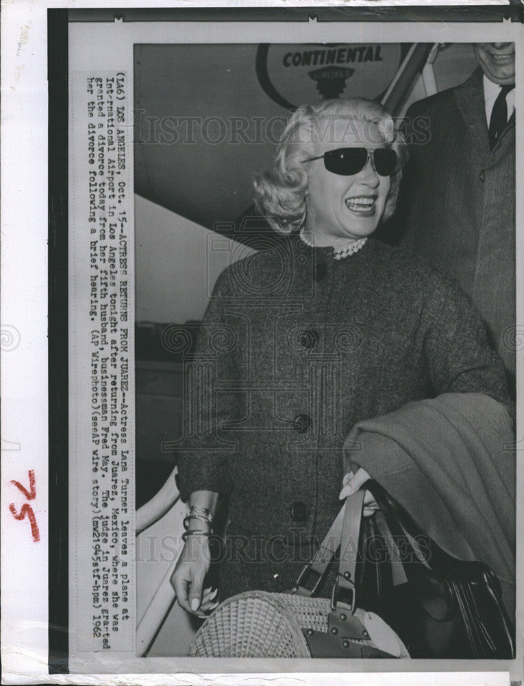 1962 Press Photo Actress Lana Turner granted divorce fifth husband businessman - Historic Images