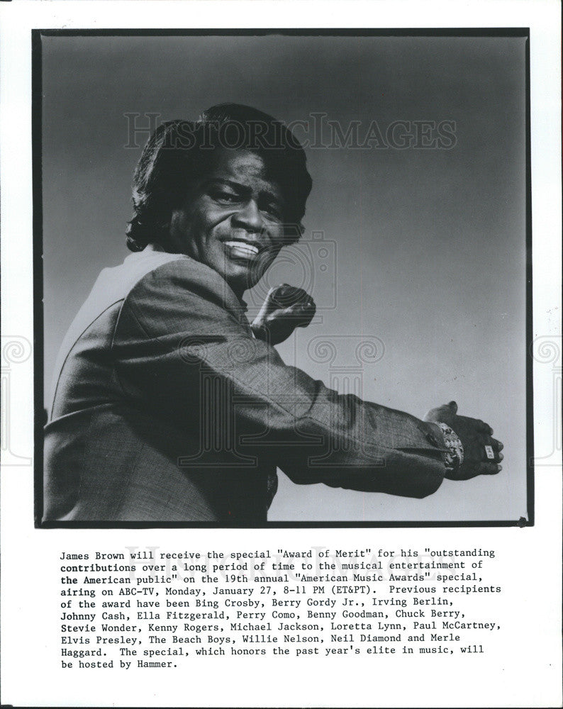 "1994 Press Photo James Brown- To Receive ""Award of Merit"" - Historic Images"