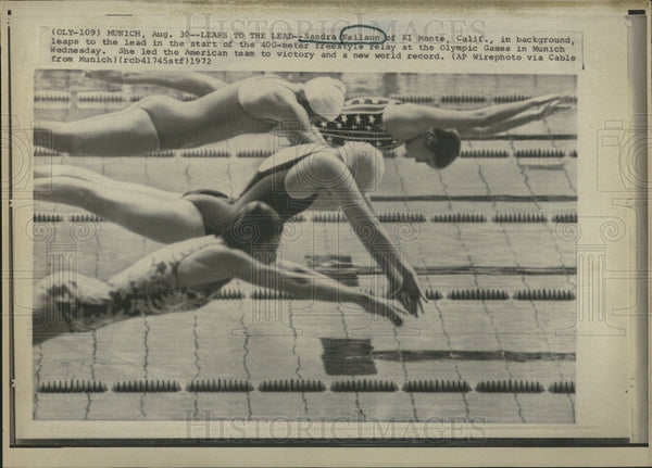 1972 Press Photo Sandra Neilson Munich Olympics Freestyle Swimming - Historic Images