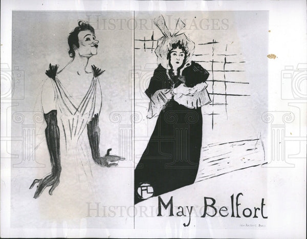 1913 Press Photo Poster Of Yvette Guilbert and May Belfort By Toulouse Lautrec - Historic Images