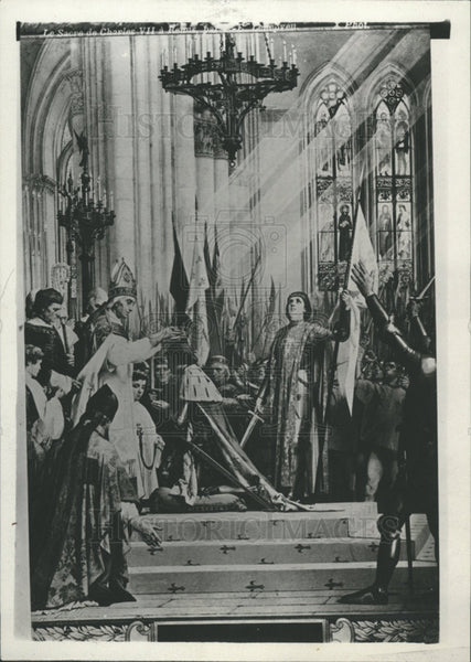 1923 Press Photo CORONATION CHARLES VII RHEIMS CATHEDRAL - Historic Images