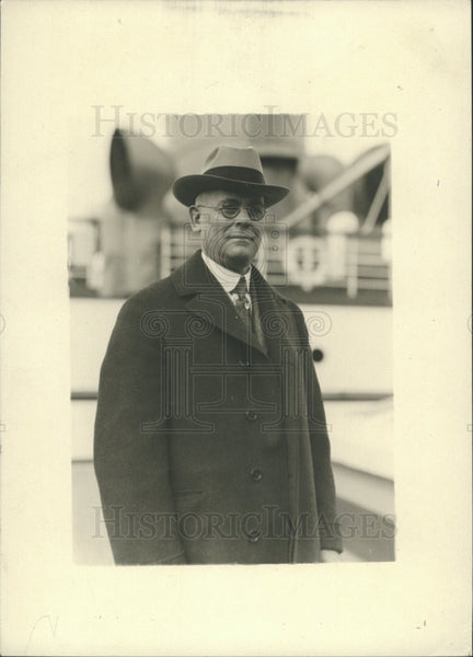 "1927 Press Photo William Rufus Abbott on ""Finland"" Boat - Historic Images"