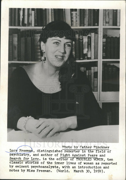 1959 Press Photo Lucy Freeman,reporter - Historic Images
