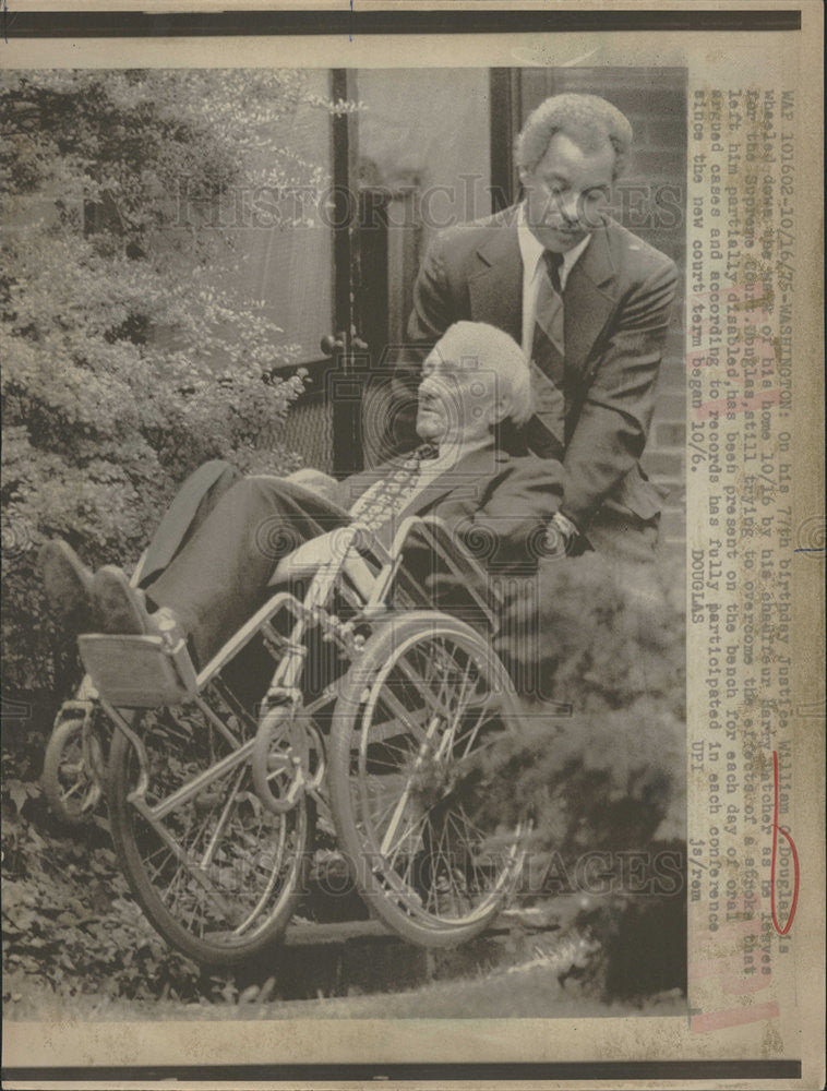 1975 Press Photo Supreme Court Justice William O Douglas in Wheelchair |  Historic Images