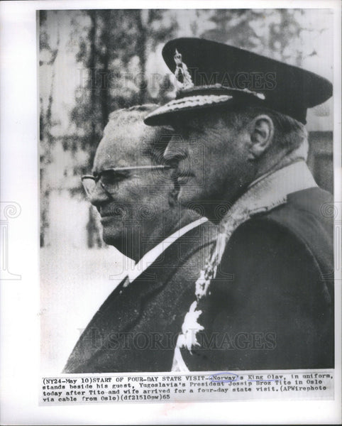 1965 Press Photo King Olay of Norway & Yugoslavia's President Jossip Broz Tito - Historic Images