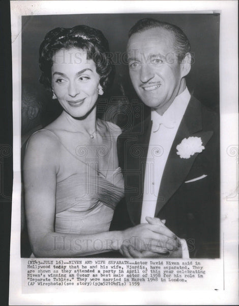 1959 Press Photo Actor David Niven wife Hjordis separated - Historic Images