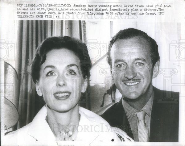 1959 Press Photo Actor David Niven Wife - Historic Images