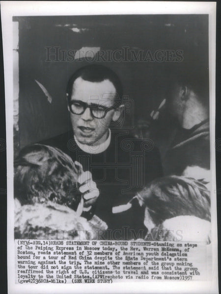 1957 Press Photo Rev. Warren McKenna and students travel to Red China. - Historic Images