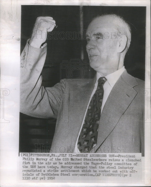 1952 Press Photo Phillip Murray, president of the CIO United Steelworkers. - Historic Images
