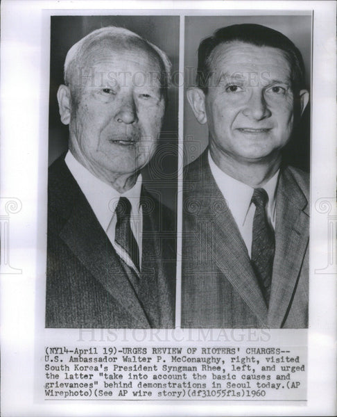 1960 Press Photo Walter P. McConaughy , U.S. Ambassador & Sungman Rhee, S. Korea - Historic Images