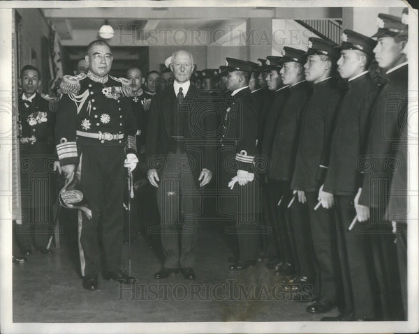 1929 Press Photo Vice Admiral Nomura And Imperial Japanese Training Squadron - Historic Images