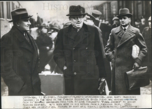 1939 Press Photo Dr. Juho Kusti Paasikivi Head Finnish Delegation On Moscow Trip - Historic Images