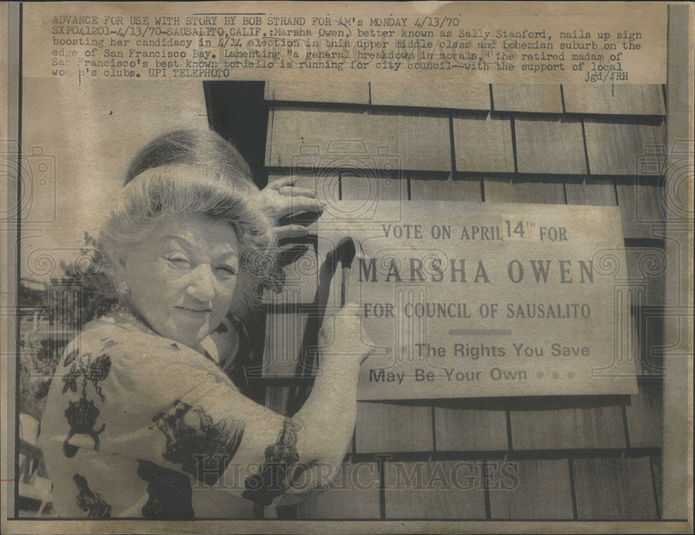 1970 Press Photo Marsha Owen Sally Stanford Sausalito Campaign San Francisco - Historic Images