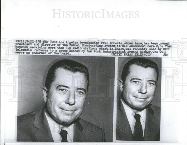 Undated Press Photo Paul Roberts, president and director of the Mutual Broadcasting - Historic Images
