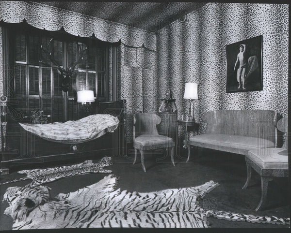 1977 Press Photo Don Rose's Home, Bedroom Done in the Napoleon Style Antiques - Historic Images