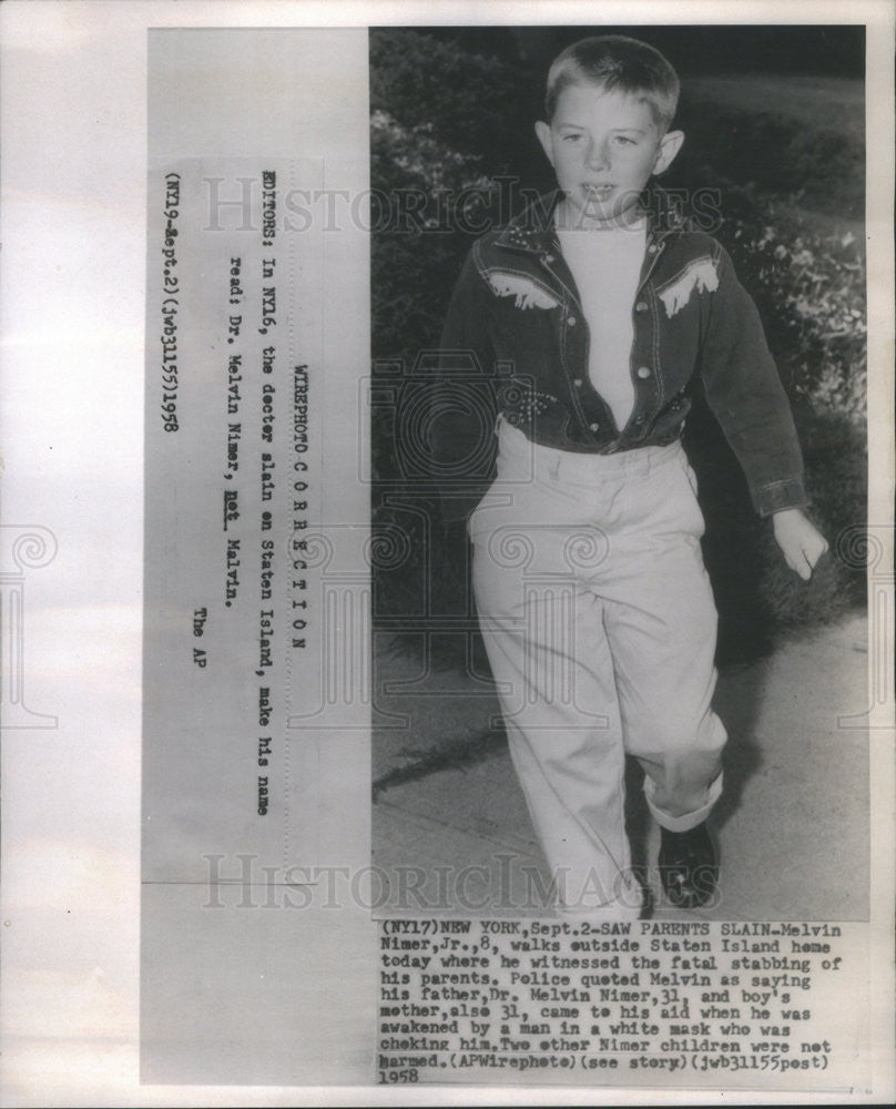 1958 Press Photo 8 year old Melvin Nimer Jr witness to the murder of his parents - Historic Images