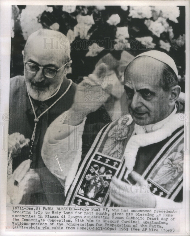 1963 Press Photo Pope Paul VI/Roman Catholic Church/Gregory Cardinal Agagianian - Historic Images