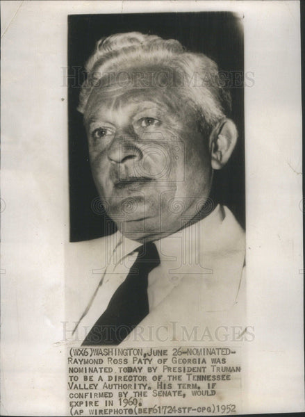 1952 Press Photo Raymond Ross Oaty Of Georgia Nominated By Truman For TVA - Historic Images