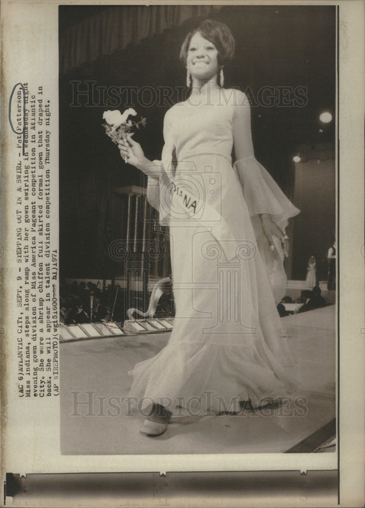 1971 Press Photo Pat Patterson Miss Indiana Evening Gown Miss America Pageant - Historic Images