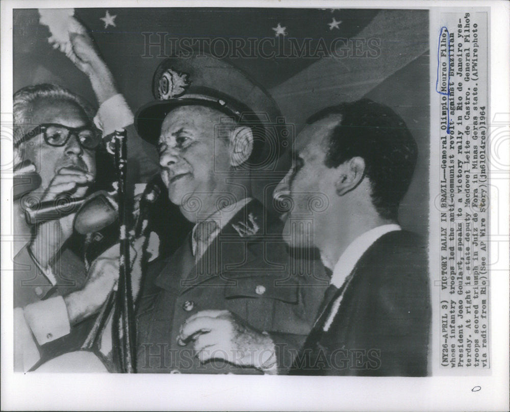 1964 Press Photo General Olimpio Mourao Filho Anti-Communist Revolt Brazil - Historic Images