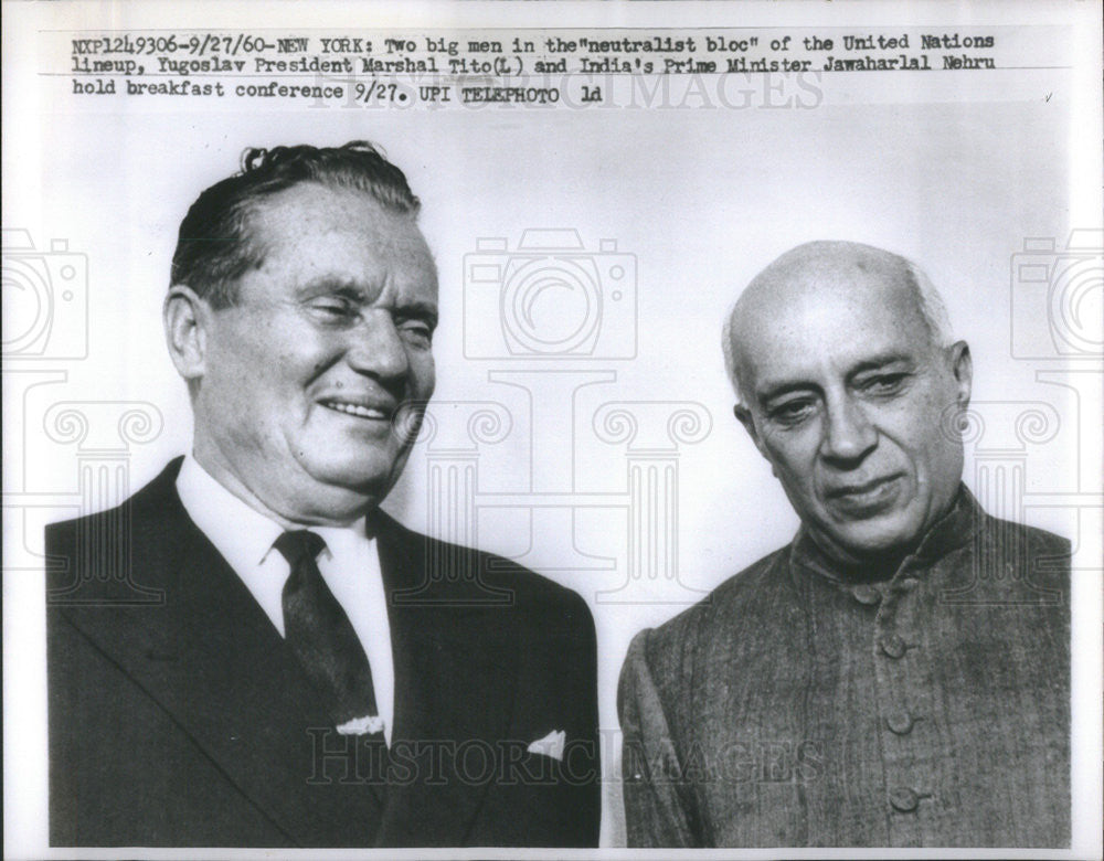 1960 Press Photo Yugoslav Pres. Marshal Tito & Prime Minister Jawaharlal Nehru - Historic Images