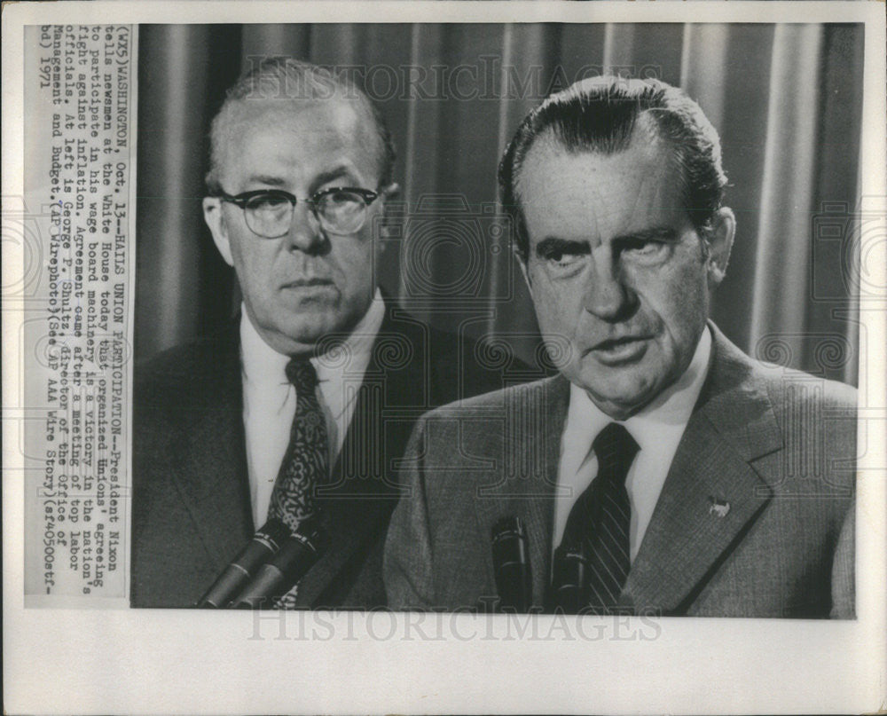 1971 Press Photo President Richard Nixon Director Management George Schultz - Historic Images